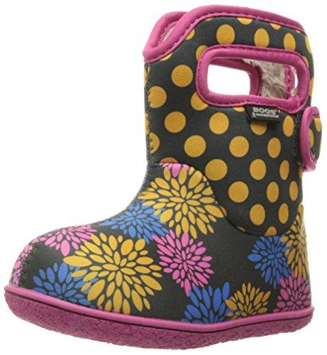 Nuovo Bambini Paludi Stivali con linguetta sul manico e Touch fissaggio, Rosa/Multicolore, misure UK 3-9, (Dark Grey Multi), 21 EU
