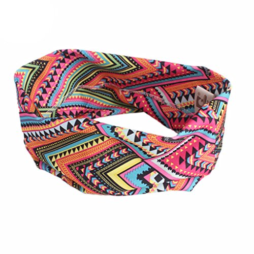 Lunji Bohemian Stretch Elastic Yoga Headband Wide Sport Hair Band for Women  (H) 7011c4906492