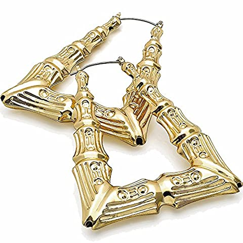 Large triangle bamboo embossed women's costume gold plated fashion jewellery 7.5 cm hoop earring