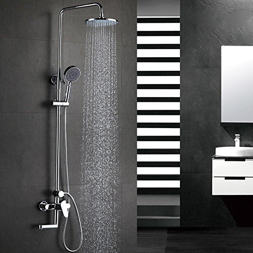 ZHGI Lusso moderno in ottone set doccia, tre-funzione doccia calda e fredda, rubinetti cerchio con tre docce