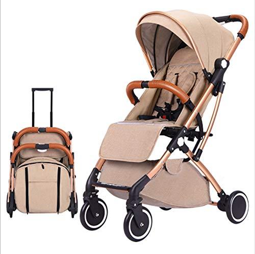 QZX Leichter Kinderwagen Kompaktes Kinderwagen Reisesystem hoch Landschaft mit 5-Punkt-Sicherheitssystem und Verstellbarer Multi-Position-Sitz verlängerte Überdachung einfache Einhandfalte,Beige