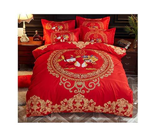 Bettdeckenbezug Kopfkissenbezug doppelseitige Bettwäschesatz im chinesischen Stil, ökologischer Sanddoppeldecker Hochzeit chinesische Ehe B, 1,5 m Bettbezug 200x230, Blatt 230x230