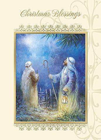 Paquet de 12 cartes de Noël de charité religieuse - Bénédictions de Noël Nativité