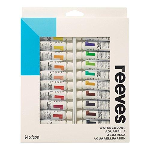 Reeves 8493265 Aquarellfarben Set, 24 Farben in 10ml Tuben, Lichtecht, höchste Transparenz, für...