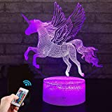 Unicorn Gift Unicorn Night Light for Kids, 3D Light lamp 7 Colors Change with Remote Holiday and Birthday Gifts Ideas for Children (Unicorn2)