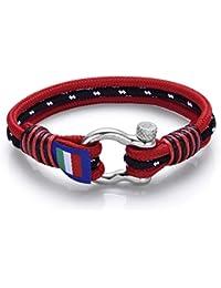 Italienisches Herren Armband in rot und schwarz. Marine Thema, mit Seil. Luca Barra DBA884. Wasser Sport, Mode, Stil, Schmuck Geschenk