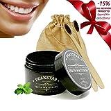 PeakStar Carbone Attivo Sbiancante per Denti 100% Naturale | PREMIUM Active Charcoal Teeth Whitening | Kit 1+1 Spazzolino Bamboo Omaggio + Polvere di Cocco 60g + Confezione Regalo Eco Vegan Friendly