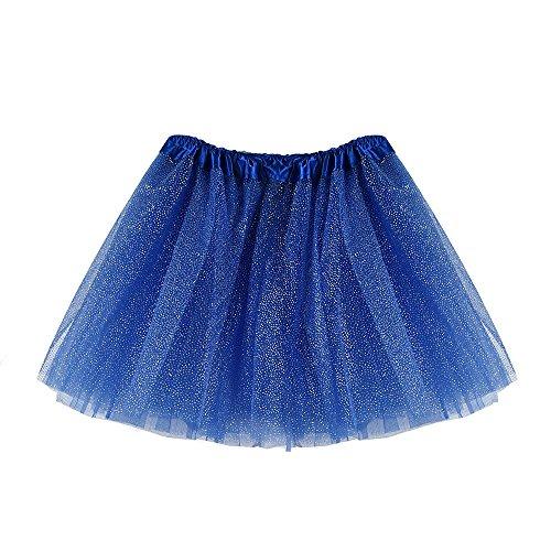 Hirolan Tüllrock Ballettrock Tutu Petticoat Vintage Partykleid Unterkleid Damen Falten Gaze Kurzer Rock Erwachsene Tutu Tanzender Rock Ballklei Abendkleid Zubehör (Einheitsgröße, Dunkel Blau 3)