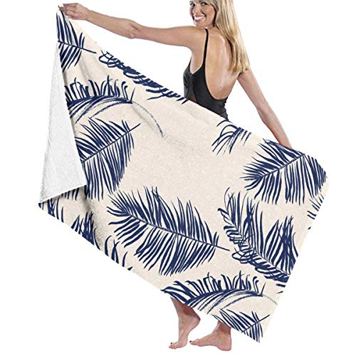 xcvgcxcvasda Serviette de bain, Beach Bath Blue Palm Leaves Personalized Custom Women Men Quick Dry Lightweight Beach & Bath Blanket Great for Beach Trips, Pool, Swimming and Camping 31