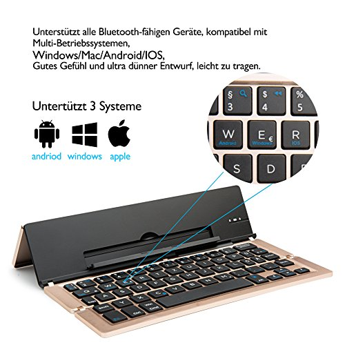 Faltbar Bluetooth Tastatur, iEGrow F18 Universal Tragbar Bluetooth 3.0 Kabellose Tastatur mit Ständerhalter für Apple iPad iPhone 7 Plus IOS, Andriod Windows Smartphone Tabletten Gold [QWERTZ deutsches Tastaturlayout] - 2