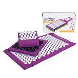 Akupressur-Set DELUXE soft Aubergine: Akupressurmatte (77 x 44 cm) Akupressur-Fußmatte & -Kissen im günstigen Set, Entspannungsmatte, Fußreflexzonen-Massage