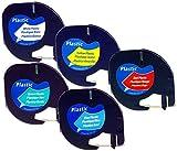 Set NEU 5 Schriftbandkassetten für Dymo LetraTag schwarz auf weiß, gelb, rot, grün, blau 12mm laminiert Kunststoff kompatibel zu 91221, 91222, 91223, 91224, 91225 für Dymo LetraTag LT-100H, LT-100T Plus LT-100H, LT-100T, XM, 2000 / Dymo LetraTag QX50 / Dymo LetraTag XR /// Rechnung inkl. ausgew. Mwst.