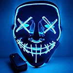 RONSHIN Led Mask for Halloween EL Light KTV Dance Party Scary Mask Clear Blue Halloween Decoration