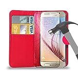 Leder Brieftasche Tasche mit gehärtetem Glas Schirm Schutz für alle neuen Samsung Galaxy Models Galaxy S6/S6 Edge/S5/S4/ALPHA/Ace 4/A3/A5/A7/Young 2