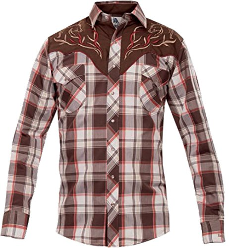 Modestone Men's Fitted Western Hemd Checked Filigree Horse Embroidered Brown (Cattleman Ely Western Shirt)