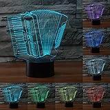 Jinson well 3D akkordeon Nachtlicht Lampe optische Nacht licht Illusion 7 Farbwechsel Touch Switch Tisch Schreibtisch Dekoration Lampen perfekte Weihnachtsgeschenk mit Acryl Flat ABS Base USB Kabel kreatives Spielzeug