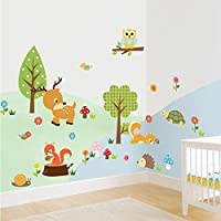 Zooarts Ardilla tortuga Ciervo búho Mural Adhesivo de Pared Adhesivos para niños habitación de los niños decoración