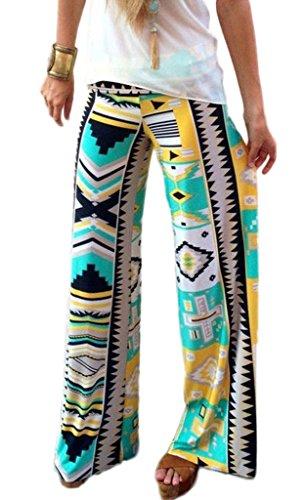 Bigood Pantalon Jogging Femme Large Jambe Danse Sport Yoga Lâche Imprimé Multicolore