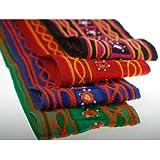 Neotrims única edición limitada Chenille efecto indio bordado frontera; Tejido de Sari de algodón y Salwar indio espejo adornado hecho a mano cinta Recorte Por El Patio en un gran precio, Verde esmeralda, 1 metro