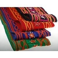 Neotrims unico edizione limitata effetto ciniglia ricamo indiano sari border; finiture e tessuto di cotone indiano Specchio Embellished nastro realizzata a mano dal Yard a un ottimo prezzo, Scarlet Vivid, 4 metri