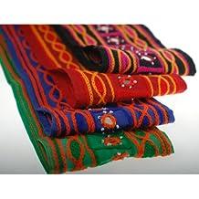 Neotrims - Tejido de chenilla (bordado, algodón, con espejos, hecho a mano), diseño estilo indio para hacer Sari o Salwar., Purple with Orange, 1 metro