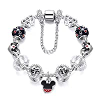 Disney Style Mickey Pendant Silver Plated Charm Bracelet - Cartoon Series 01