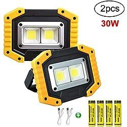 Longdafei Paquet de 2 lampes de travail à LED portatives, projecteurs rechargeables avec USB, projecteur extérieur étanche pour la de voitures, camping, pêche, éclairage et éclairage de chantier