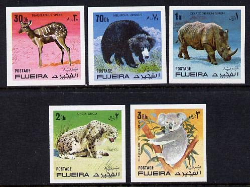 Fujeira 1971 Wild Animals imperf set of 5 u/m (Mi 792-6B) ANIMALS CATS JandRStamps (472) -