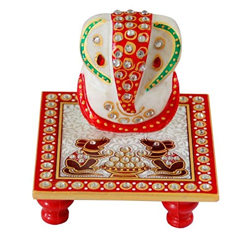 Pooja Samgari God Ganesh Marble Chowki | size 4x4 inches | Marble Handicrafts | Sangemarmar Marble | Wedding Return Gift I Chowki, Chowkis I Ganesh Chowki I God Of Chowki I White Marbel Chowki  available at amazon for Rs.150