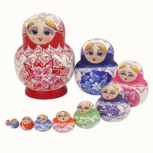 Doll Nesting Ornament (Sch?ne Holz Sourcingmap Matroschka Puppe Matroschka-Puppen M?chten, Handgefertigt, Hot Sale 10 St¨¹ck (Eine Bike Reflective Band Als Geschenk) 10 St¨¹ck)