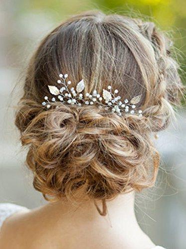 Goldene Haarnadeln im klassischem Kristall-Blumen-Design mit Perlen, Brautschmuck von FXmimior, Kopfbedeckung für feierliche Abende, Hochzeitszubehör, 3 Stück