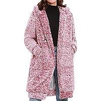 Yvelands Mujeres Invierno Manga Larga Sólido con Capucha Rebordear Abrigo Cálido Outercoat Tops Blusa