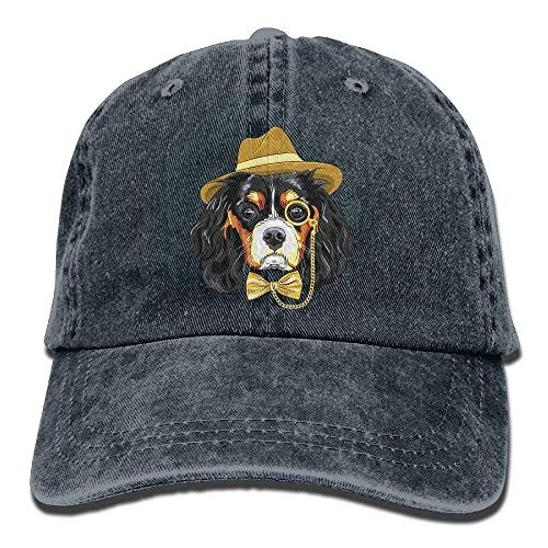 GHEDPO Aristocratic Dog Denim Baseball Caps Hat Adjustable Cotton Sport Strap Cap for Men ()