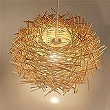 Malovecf inusual hechas a mano Pájaros Nido - Lámpara LED de techo Twisted Colgante de mimbre Leuchten, madera, 350 * 220 mm
