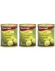 Gourmet Aceitunas Rellenas de Anchoa Verdes Manzanilla Extra - Pack de 3 x 50 g - Total: 150 g