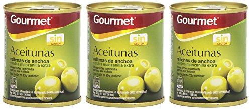 Gourmet Aceitunas Rellenas de Anchoa Verdes Manzanilla, Pack de 3 x 50 g, Total: 150 g