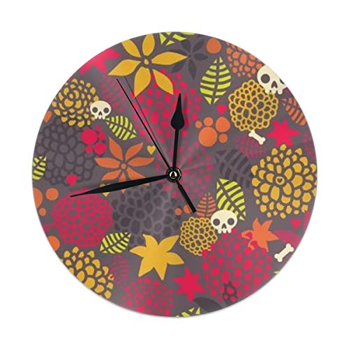HomeMats 9.8 Inch Round Wall Clock,Skulls and Flowers Seamless Silent Non Ticking Decorative Clocks for Kitchen, Living Room, Bedroom, Office (Kit Cat Clock-pink)