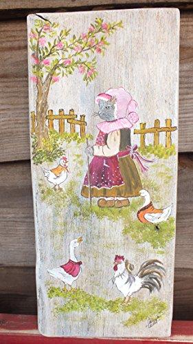planche-peinte-une-jolie-chatte-habille-se-ballade-avec-ses-amis-de-la-basse-cour