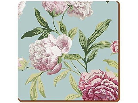 Creative Tops Everyday Home Dessous-de-verre Base en liège Motif floral Bleu canard, Multicolore, 4pièces