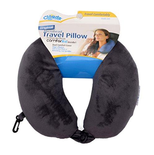 Cloudz® Microbeads Travel Neck Pillow With Clip. (Grey)