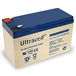UL7-12 Ultracell Lead Battery 12 Volt 7 AH Faston 187, 4.8 with MM