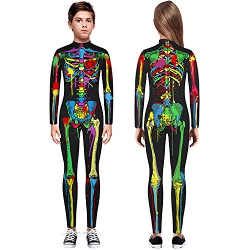 TIREOW Skelett Overall Mädchen Jungen Knochen Skelett Halloween Kostüm Body Anzug Karneval Fasching (S, Mehrfarbig) (Einzigartige Schädel Kostüm)