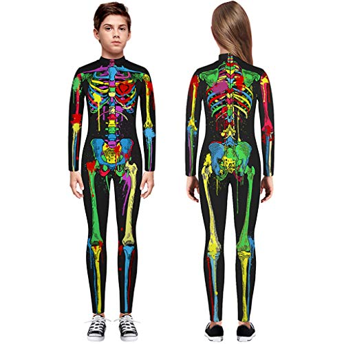 TIREOW Skelett Overall Mädchen Jungen Knochen Skelett Halloween Kostüm Body Anzug Karneval Fasching (S, Mehrfarbig)