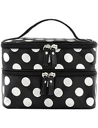 Contever® Doble capa Cremallera Bolso de cosméticos Neceser Organizador Maquillaje Dots patron (Negro + Blanco)