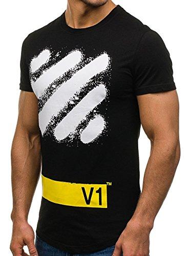 BOLF Herren T-Shirt Tee Kurzarm Rundhals Classic Aufdruck Print Motiv MIX Schwarz_S080