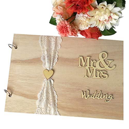 JUSTDOLIFE Gast Zeichen Buch Holz Herr Frau Design Leer Gast Buch zum Hochzeit