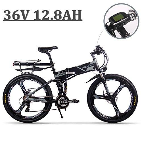 eBike_RICHBIT 860 Hombres Bicicleta eléctrica de montaña Plegable 17 X 26 Pulgadas 250 W 36V 12.8AH ebike, Gris