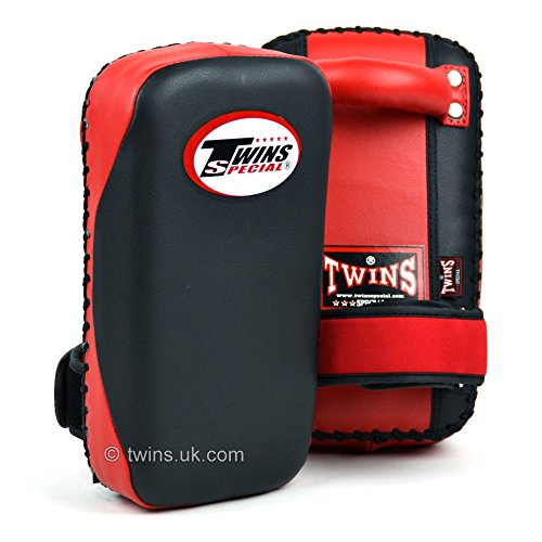 Twins Black-Red Small Microfiber Kick Pads