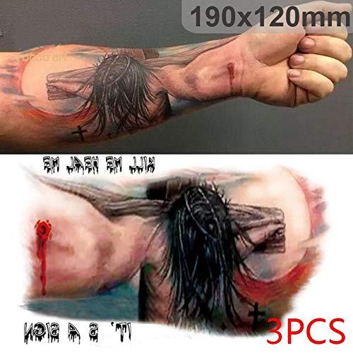 Floridivy 3pcs Halloween Tattoos Jesus-Kreuz/Deer Tattoos Temporary Body Art