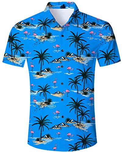 ALISISTER Flamingo Hemd Hawaiihemd Herren Beiläufig Button Down Kurzarm Blau Hawaii Hemd Lustig Strand Party Kleidung für Herren Erwachsene XXL